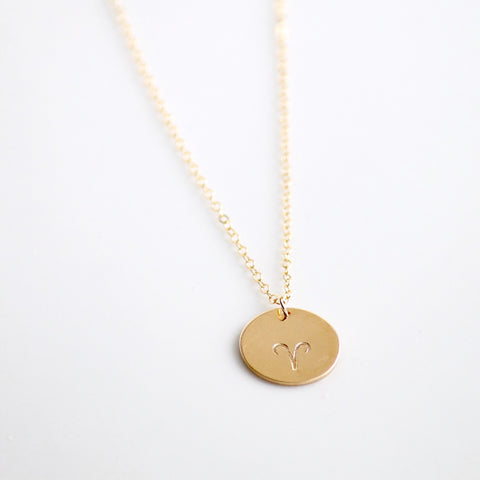 Large Zodiac Charm Necklace - 14k Gold Filled