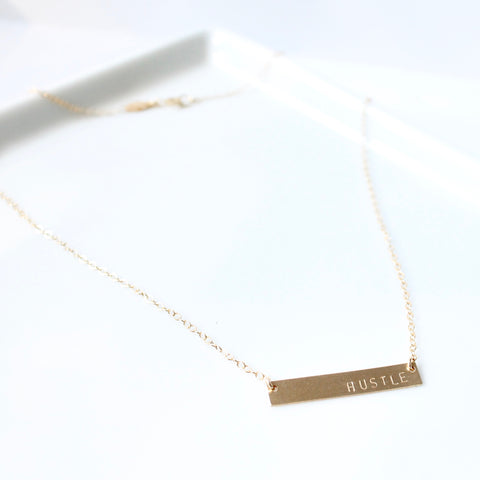 HUSTLE Necklace | Little Hawk Jewelry
