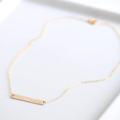 HUSTLE | Friend Gift Idea | Gold Bar Necklace | Little Hawk Jewelry