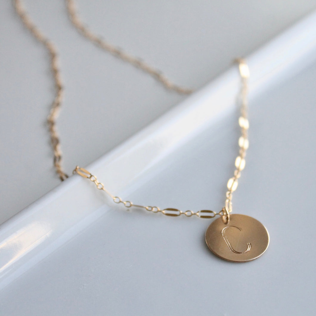 Large Initial Coin Necklace