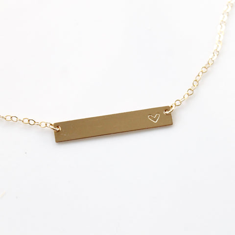 Dainty Heart Bar Necklace | Little Hawk Jewelry | Customize with names or initials