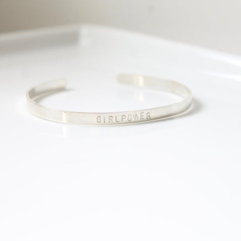 GIRLPOWER Bangle / Cuff - 14k Gold filled, Sterling Silver