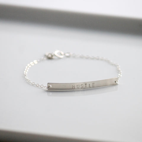 Silver HUSTLE Bracelet | Little Hawk Jewelry