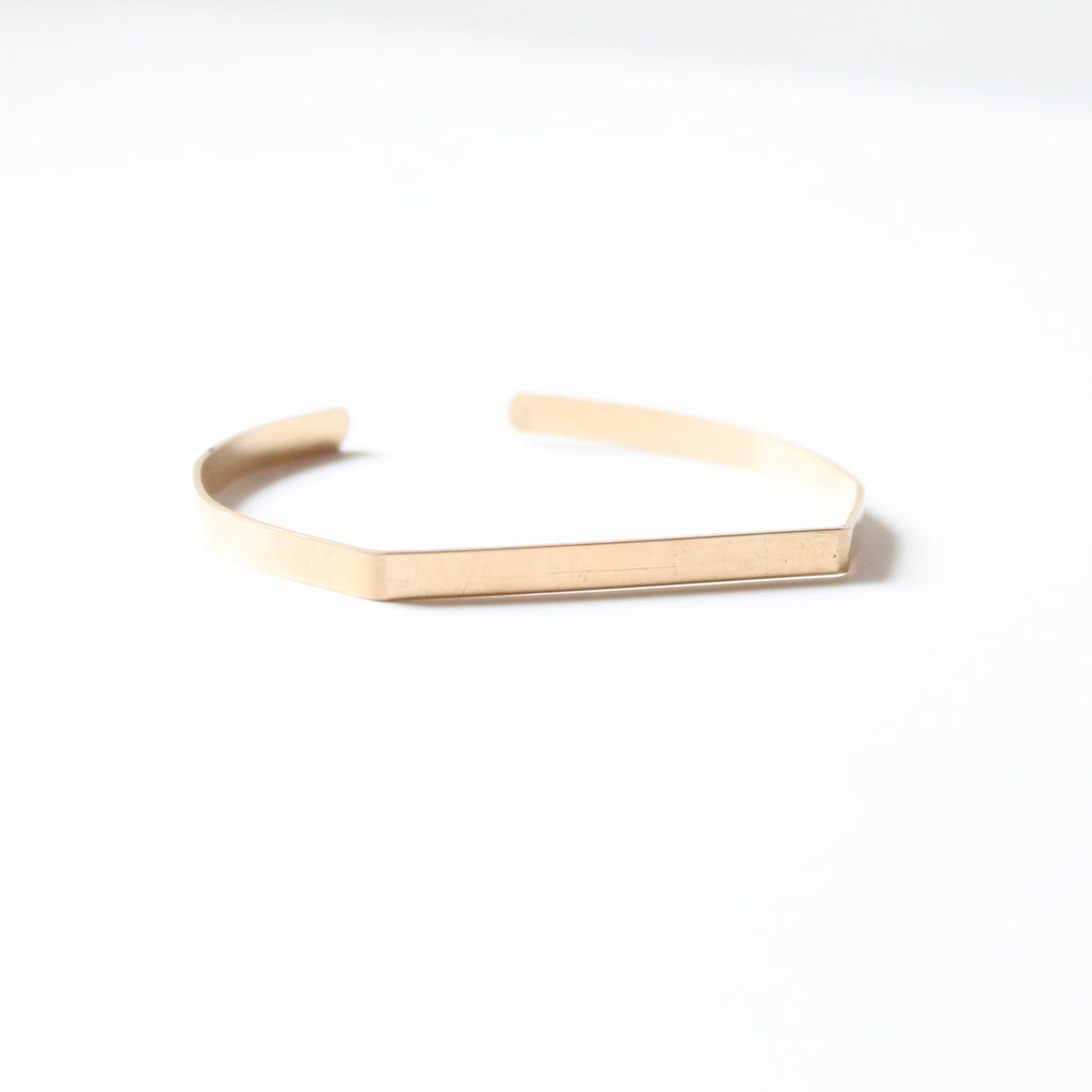 Geometric Hammered Bangle / Cuff - 14k Gold filled, Sterling Silver