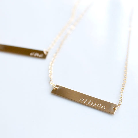 Name Bar Necklace | Little Hawk Jewelry | Personalized Jewelry