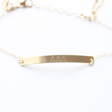 DELTA DELTA DELTA Greek Bar Bracelet - Little Hawk Jewelry - 4