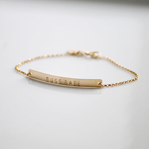 BOSS BABE Bar Bracelet | Little Hawk Jewelry | GIRLBOSS | GIRLGANG