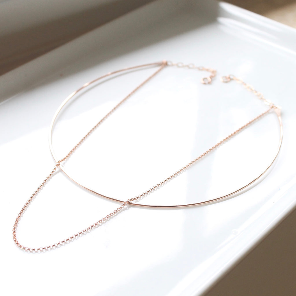Rose Gold Double Choker Necklace
