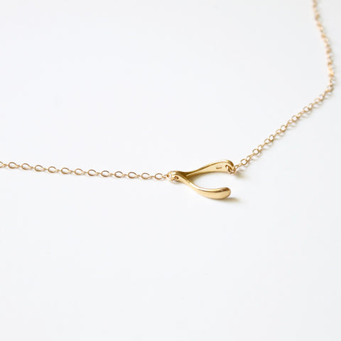 Sideways Wishbone Necklace - 14k Gold Filled