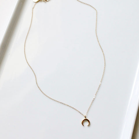 Petite Crescent Charm Necklace | Little Hawk Jewelry