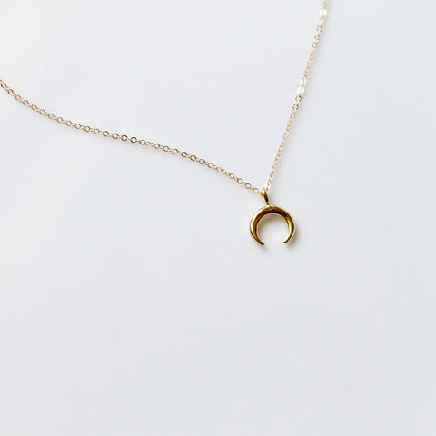 Tiny Crescent Charm Necklace