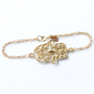 Large Hamsa Bracelet | Gold Vermeil and Gold Filled