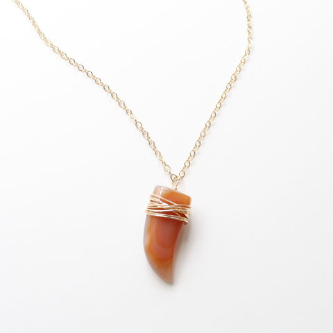 Red Agate Horn Pendant Necklace - Little Hawk Jewelry  - 1