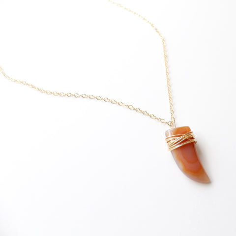 Red Agate Horn Pendant Necklace - Little Hawk Jewelry  - 3