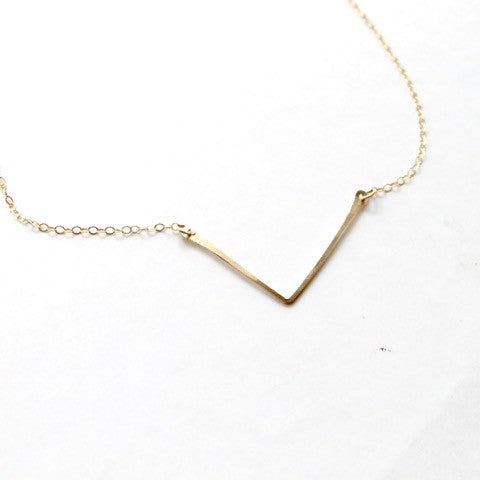 Hammered Chevron Necklace - 14k Gold Filled and Sterling Silver