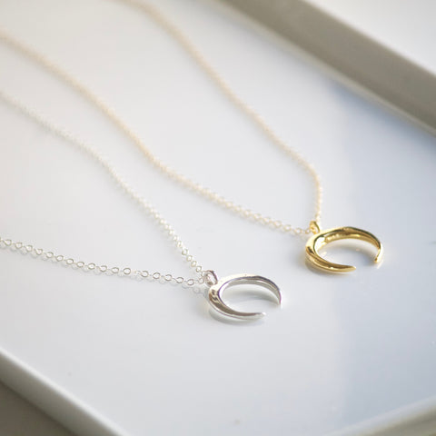 Crescent Pendant Necklace in Silver and Gold