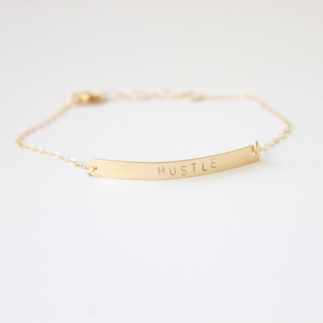 Gold HUSTLE Bracelet | Little Hawk Jewelry
