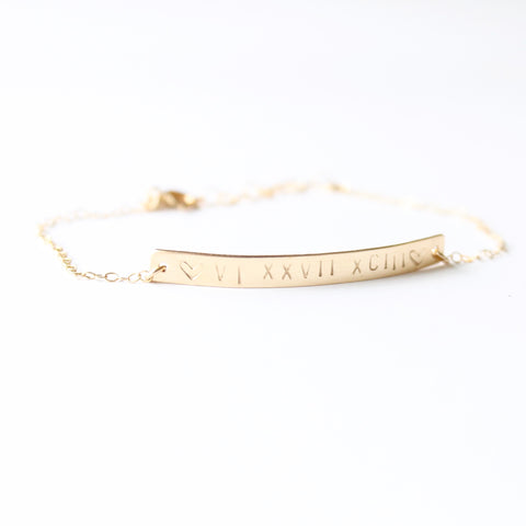Roman Numeral Bracelet | Custom Jewelry | Little Hawk Jewelry