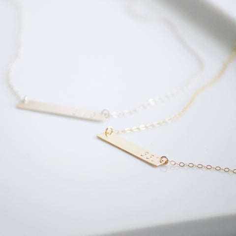 Area Code Bar Necklace | Little Hawk Jewelry
