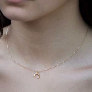 Petite Crescent Necklace | Gold Crescent Necklace | Little Hawk Jewelry | Small Horn Necklace