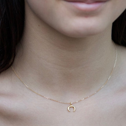 Petite Crescent Charm Necklace