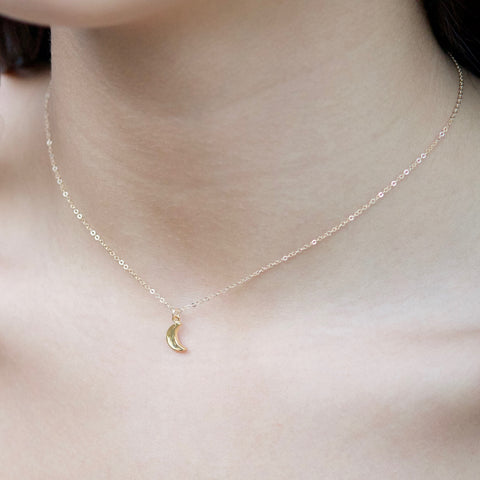 Petite Half Moon Charm Necklace