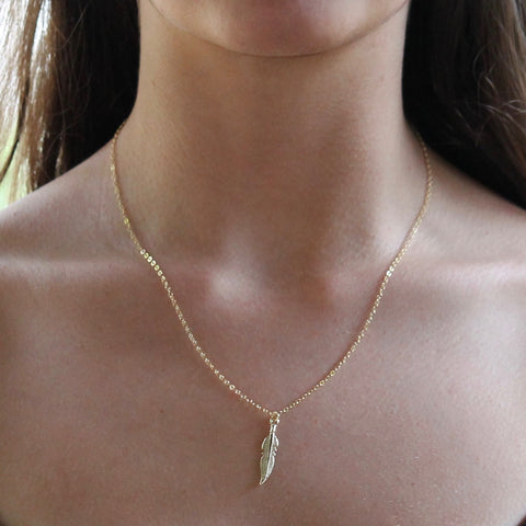 Gold Feather Necklace | Little Hawk Jewelry | $44