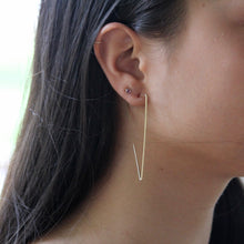 Load image into Gallery viewer, Hammered Triangle Threader Earrings