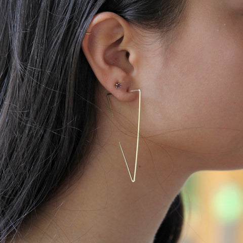 Hammered Triangle Threader Earrings