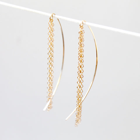 Fringe Threader Earrings - 14k Gold Filled