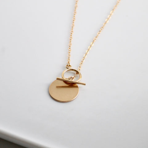 Little Hawk Jewelry | Coin and Toggle Necklace | Heavy 14k Gold Filled