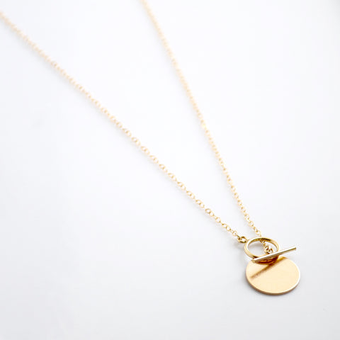 Coin and Toggle Necklace | Little Hawk Jewelry  | Dainty Gold Jewelry