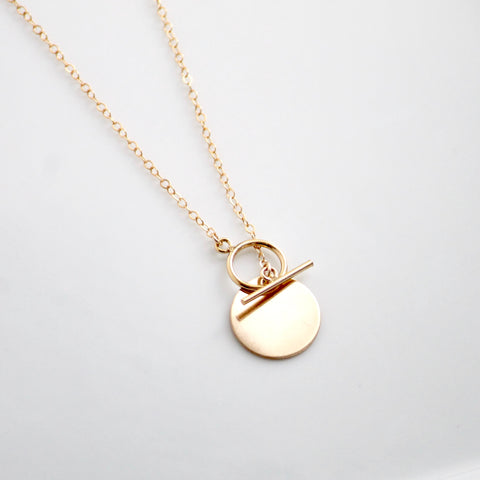 Gold Coin and Toggle Necklace by Little Hawk Jewelry | Dainty Gold Filled