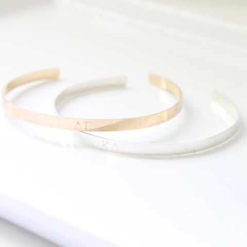Sorority Bangle / Cuff - Handstamped - Licensed - 14k Gold Filled and Sterling Silver