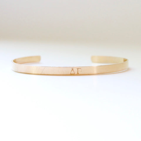Delta Gamma Sorority Bangle - Handstamped - Sterling Silver and Gold Filled
