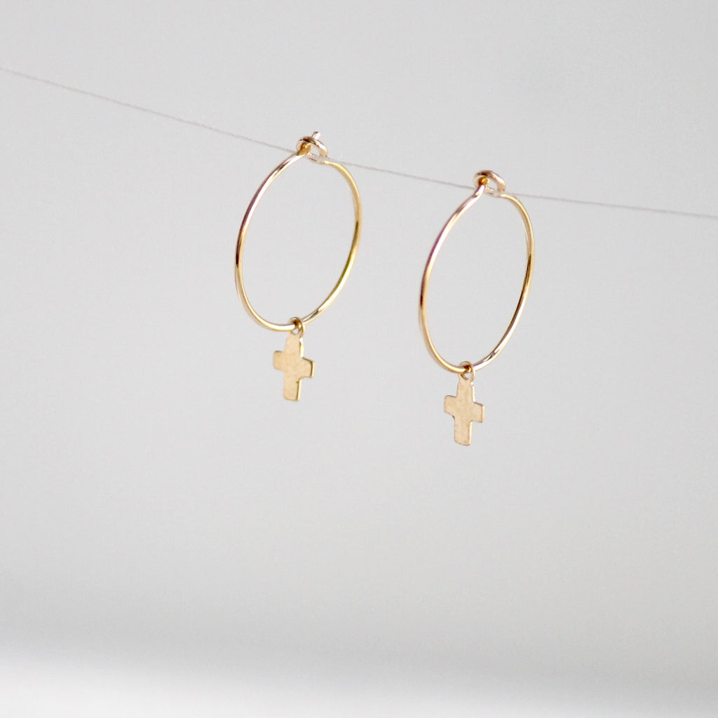 Cross Hoop Earrings - Little Hawk Jewelry