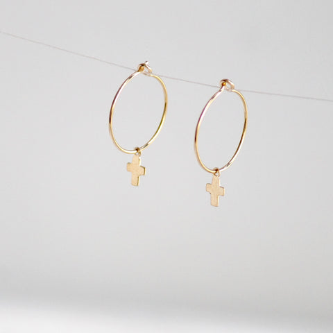Tiny Cross Hoop Earrings - 14k Gold Filled