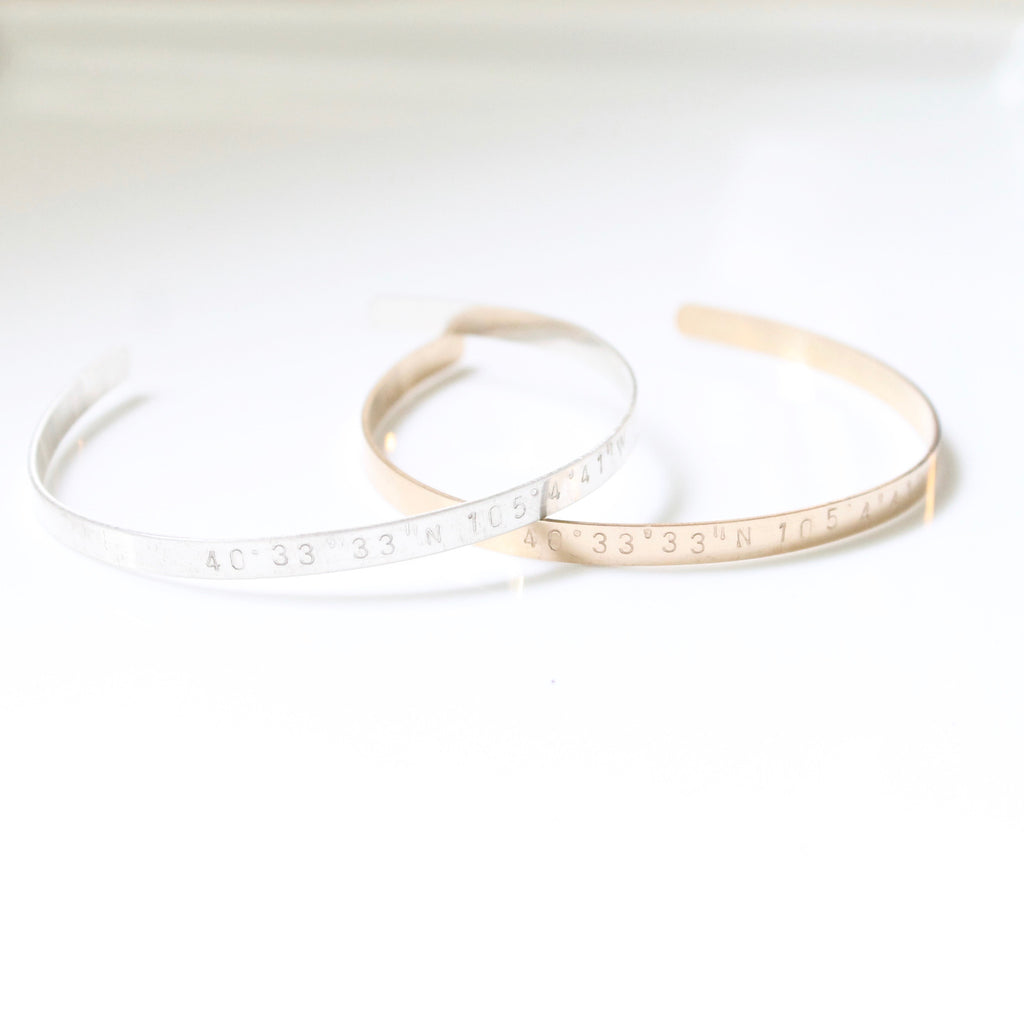 Custom Hand Stamped Bangle / Cuff - 14k Gold filled, Sterling Silver