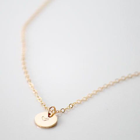 Tiny Heart Disc Necklace