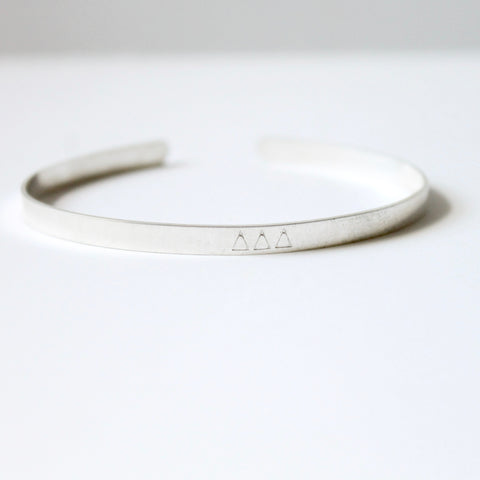 Delta Delta Delta Sorority Bangle - Handstamped Greek Jewelry