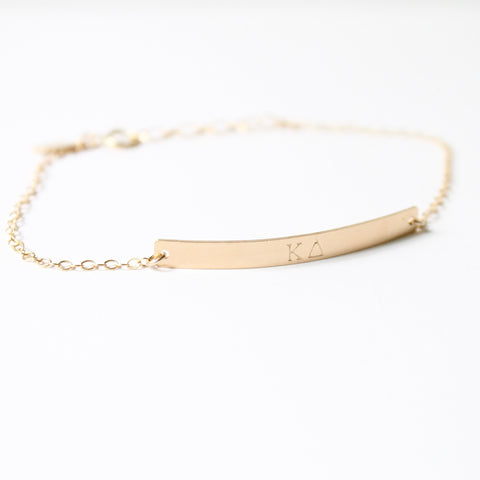 Sorority Bar Bracelet - Hand Stamped Greek Jewelry