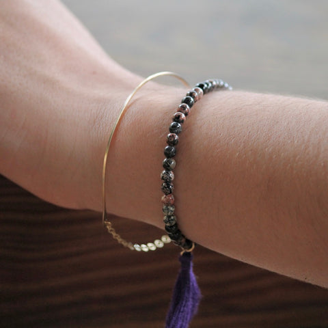 Hammered Half Moon Bracelet
