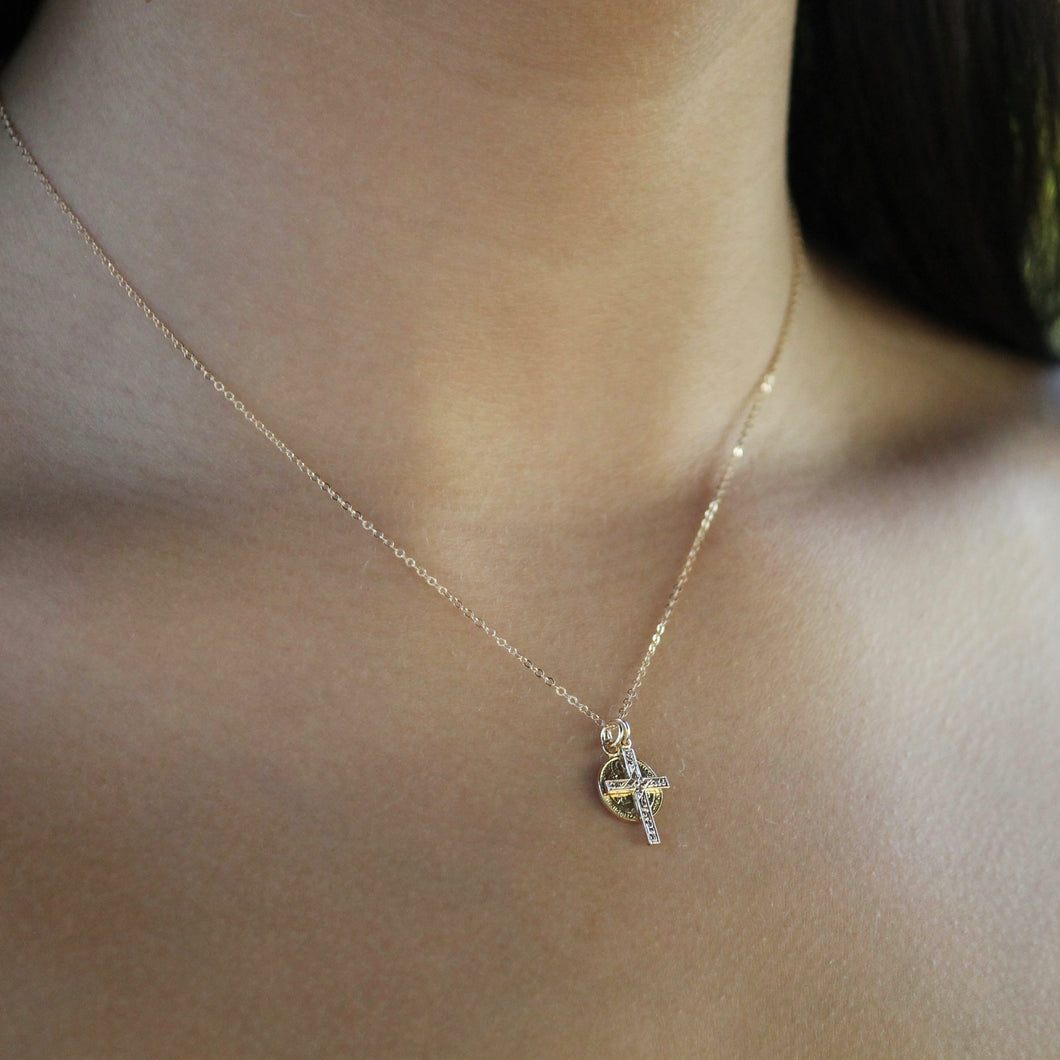 Cross and Medalion Cluster Neckalce  | Little Hawk Jewelry