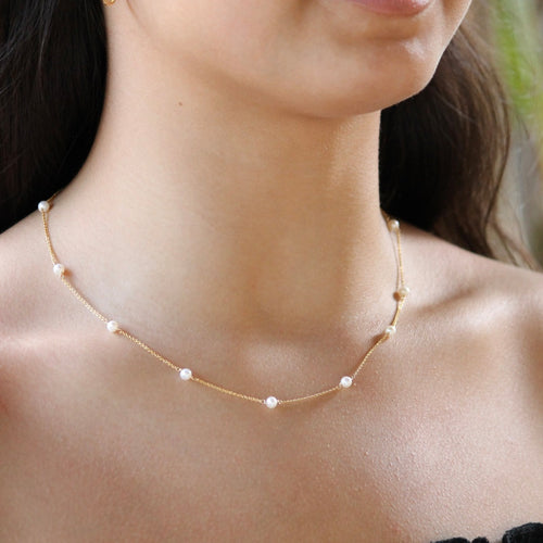 Pearl and Gold Necklace | Little Hawk Jewelry | $65