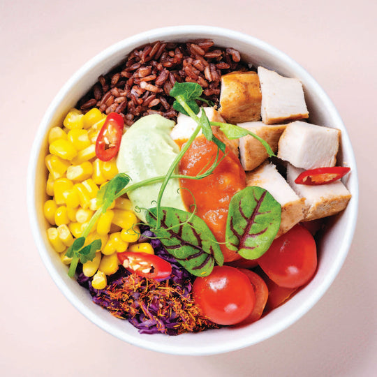 RIce bowl with chicken, corn and tomatos