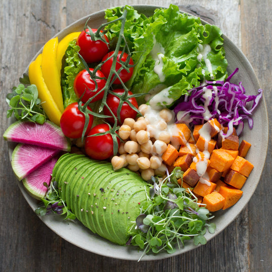 Plate of leafy greens, fruits and vegetables