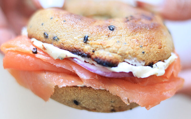 PBH Foods Keto Everything Bagel with smoked salmon and cream cheese