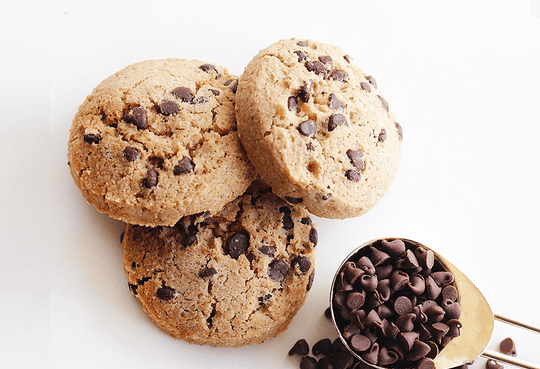 3 PBH Chocolate Chip Cookies On A White Background