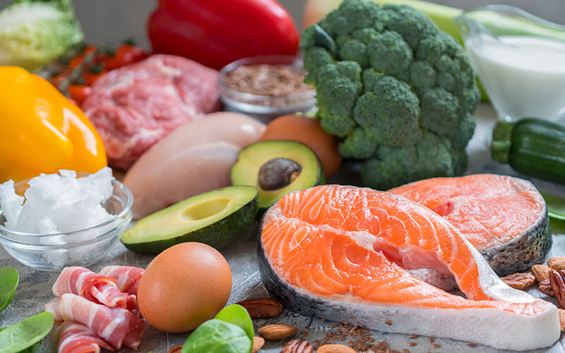 Foods for a keto diet: Salmon, avocado, eggs, meat, poultry, vegetables
