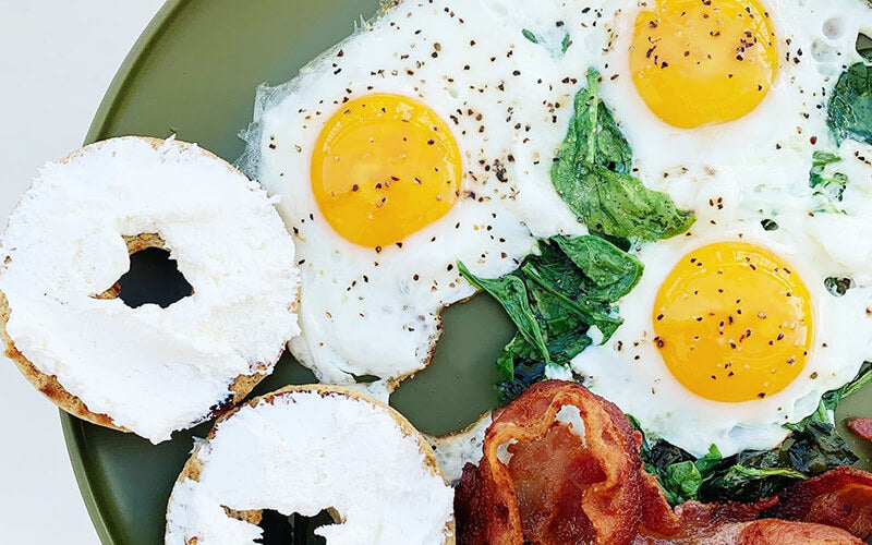PBH Foods Keto Bagels with eggs and bacon